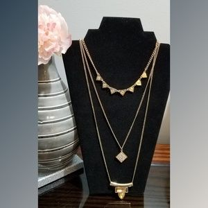 Stony rose gold triple chain necklace